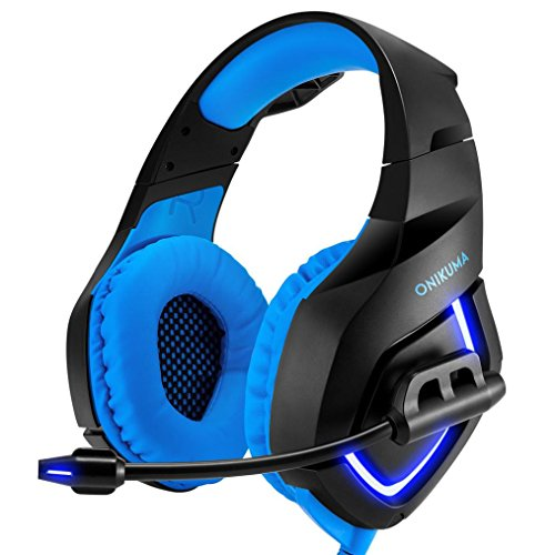 PC Gaming Headset für PS4 Xbox One 3.5 mm Stereo USB LED Kopfhörer mit Omnidirektionalem Mikrofon Lautstärkeregler für Computer Laptop Mac Play Station Headset Ohrhörer mit Mikrofon (Blau)
