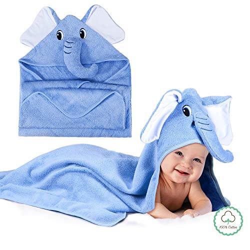 Momcozy Toalla con Capucha de Baño para Bebés con Lindo Diseño de Elefante, 100%...