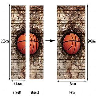 FERZA home 3D Backsteinmauer Basketball Kreative Tür Aufkleber Art Deco Wand Poster Tür Aufkleber Wohnkultur Wandaufkleber Türaufkleber Tapete Aufkleber Tür Wandbild Wasserdicht Selbstklebende Wanddek