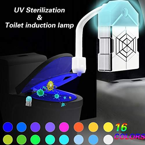 WRMING Toilet LED WC Licht mit Bewegungsmelder mit UV Desinfektion 16 RGB Farben Batteriebetriebenes Nachtlicht für Kinder Eltern Badezimmer (2 Stck.) - Desinfektion Licht