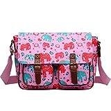 Miss LuLu Wachstuch Tasche Umhängetasche Schultasche mit vielen Drucken in vielen Farben (E-PK)