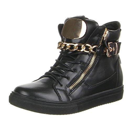 Damen Schuhe, F97, FREIZEITSCHUHE Schwarz