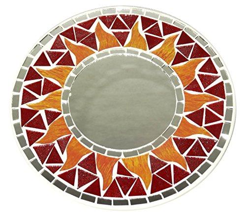 Espejo en mosaico hielo 20cm madera sol artesanía Mosaic Mirror Sun rojo mosaicos