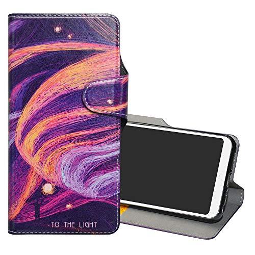 YCGG BQ Aquaris C Leder hülle, Wallet Stylish mit Standfunktion/Kartenfächer PUtasche Painted Muster Case für BQ Aquaris C(Nicht für andere Modelle),Brilliant Purple