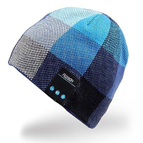 Rotibox sans fil Bluetooth Beanie Hat Casque Casque audio Musique Casque audio pour les femmes Hommes avec haut-parleur et micro Mains libres Sports de plein air, Compatible avec Iphone 6s / 6 plus, Samsung, les meilleurs cadeaux de Noël -