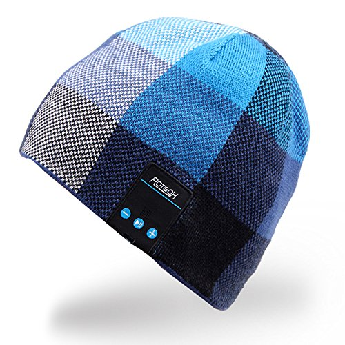 Rotibox Drahtlose Bluetooth Beanie-Hut-Kopfhörer-Kopfhörer-Musik-Audio-Kappe für Frauen Männer mit Lautsprecher u. Mic-Händen Freier im Freiensport, kompatibel mit Iphone 6s / 6 plus, Samsung, beste Weihnachtsgeschenke-Blau