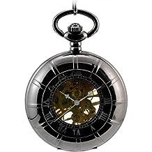 Infinite U Esqueleto Hueco Lupa Rueda Clásica Colgante Collar Cuerda Manual Reloj de Bolsillo Mecánico