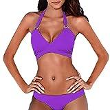 LeeY Mode Damen Bikini-Sets, Sexy Hochdrücken Gepolstert Bademode Bandage Patchwork Badeanzüge Sommer Strandkleidung Solide Niedrige Taille Bikini Badekostüme (Lila, S)