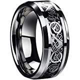 Hot Sale ! LackingOne Dragon Pattern Beveled Edges Celtic Rings Wedding Band Jewelry Comfort Fit For Men