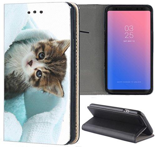 S3 Neo Hülle Premium Smart Einseitig Flipcover Hülle Samsung S3 Neo Flip Case Handyhülle Samsung S3 Motiv (1299 Katze Kätzchen Braun Blau) ()