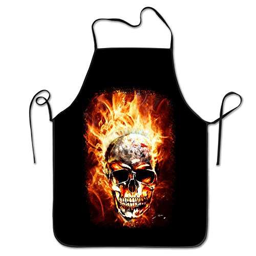 Cool Skull In The Fire Unisex Cooking Kitchen Aprons Chef Apron Bib