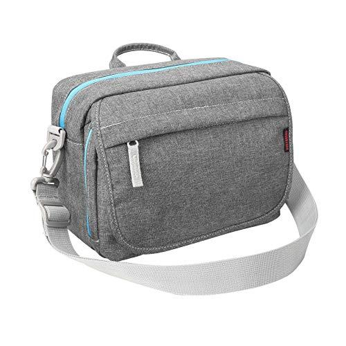 Bodyguard SLR Messenger Bag Kameratasche für Spiegelreflexkameras grau für Body und 2-3 Objektive für Canon EOS 77D 80D 200D 1300D 2000D 4000D 760D 800D Nikon D3500 D5300 D5500 D5600 D7200 D7500