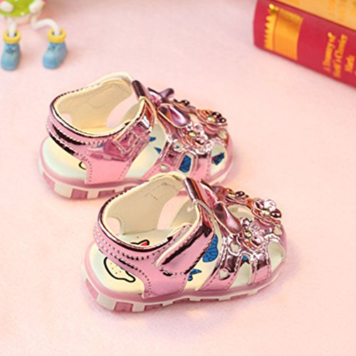 Zhuhaitf Premium Quality Toddler Girls Sandals Lighted Soft-Soled Shoes pink
