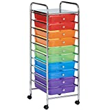 VonHaus 10 Drawer Rainbow Storage Trolley | For Home Office Stationery and Organisation or Salon, Make-up, Hairdressing & Beauty Accessories | Mobile Design with 4 Tier Shelving and Castor Wheels | Multicoloured
