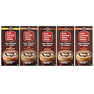 Café Coffee Thick Shake Powder For Cold Coffee. Combo (Pack of 5) Different Flavours.