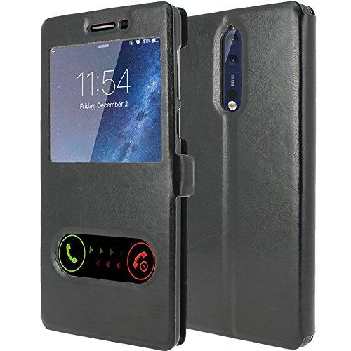 Nokia 8 Schutzhülle Abdeckung Leder [Scoot-DE] Fall Deckung S-View Folio (Windows View) Für Nokia 8 Virgin Mobile 4g-handys