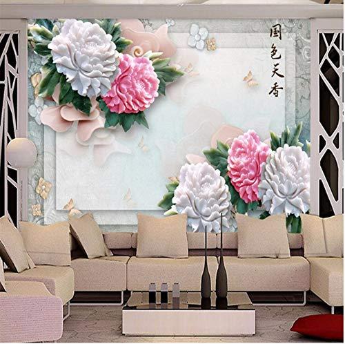 Gwgdjk Benutzerdefinierte Po Tapete 3D Fresko Wandaufkleber Jade Skulptur Land Scharlachrote Pfingstrose Blumen Hintergrund Wand Dekorative-400X280Cm (160 * 112 Inch)