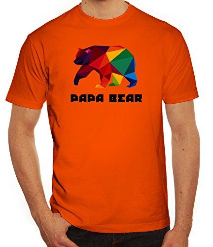 Geschenkidee Herren T-Shirt mit Polygon Papa Bear Motiv von ShirtStreet Orange