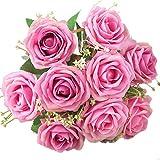 XONOR Soie Artificielle Fleurs Faux Bouquet De Fleurs De Demoiselle d'honneur De Mariée pour La Maison Jardin Décoration De Noce, 9 Têtes, 31cm (Rose)