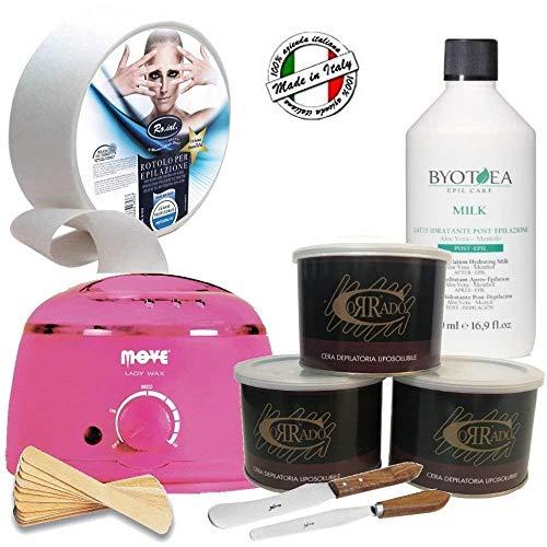 Kit Depilazione Professionale*3 Cera Vaso*LatteCrema Dopocera*Scaldacera*RotoloTNT*Accessori