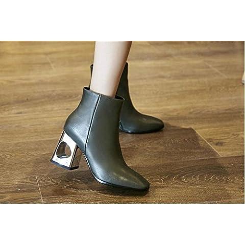 San Placcato cava autunno/inverno stivali con nuovi codici di dimensione Europa, Martin stivali greggio corto in pelle di moda con tubo scarpe basse , army green ,