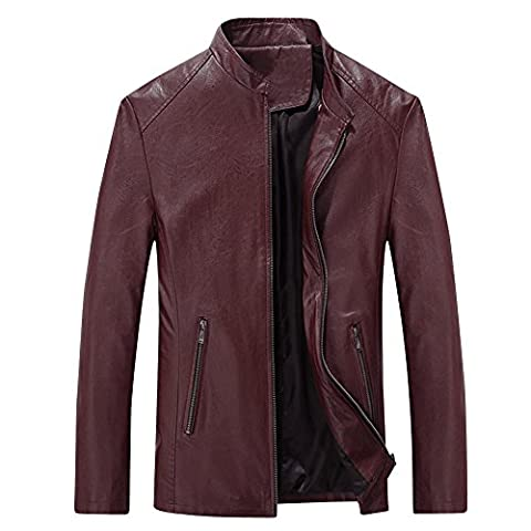URBANFIND Men's CaUKal Slim Fit PU Leather Motorcycle Jacket UK L Wine Red
