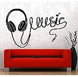 Conception moderne Art Wall Vinyle Musique Casque Qualité Sticker Étanche Amovible Papier Peint Décor À La Maison 65x42 cm