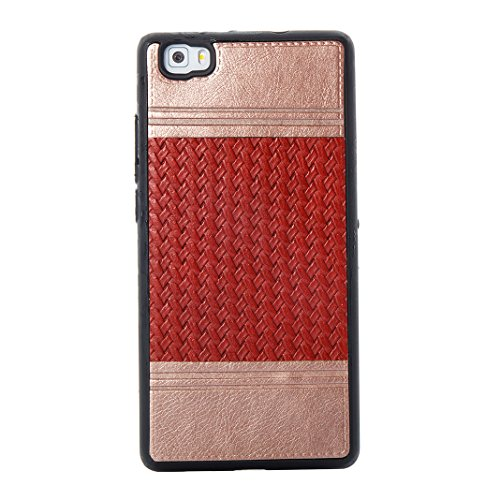 Cover Per Huawei P8 Lite, Asnlove TPU Moda Morbida Custodia Linee Intrecciate Caso Elegante Ultra Sottile Cassa Braided Stile Tessere Case Bumper Per Huawei P8 Lite - Rosa Rosso