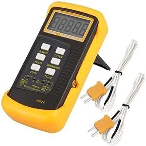 Signstek Digitales Thermometer Mit 2 K Typ Thermoelement Sensor Sonde Orange 9 00 Voltsv Baumarkt