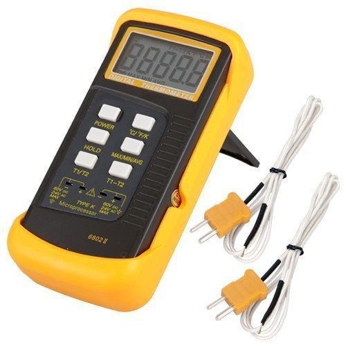 Signstek Dual Channel Digital Thermometer Temperaturmessgerät mit 2 K-Thermoelement Typ Messsonde (B)