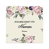 Herz & Heim® Romantisches Flaschenetikett zur Hochzeit mit den Namen der Liebenden und dem Hochzeitsdatum 24 Stück