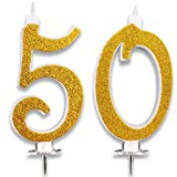 Candeline Maxi 50 Anni per Torta Festa Compleanno Matrimonio 50 Anni | Decorazioni Candele Auguri Anniversario Torta 50 | Festa a Tema | Altezza 13 CM Oro Glitter