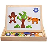 Munchkin Land Magnetic Board Wooden Educational Animal Puzzle Toys Games Dry Erase Board Chalkboard Easel For Kids Imagination