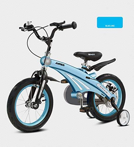 SXMXO Kinderfahrräder 12/14/16 Zoll Laufrad, 2-12 Jahre Sehr leichtes Kinderfahrrad Junge Mädchen Blue mit Stützräder und Rücktritt Scheibenbremse aus Magnesiumlegierung,14inches