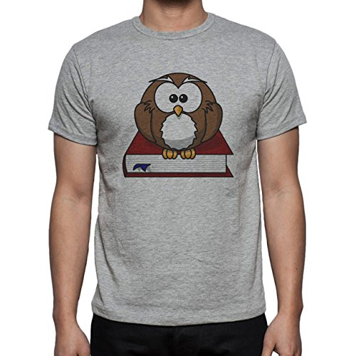 Owl Bird Night Midnighter Book Sitting Herren T-Shirt Grau