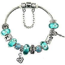 Betulla Bianca vetro di Murano, placcato argento cuore chiave con Charm per braccialetti Pandora Verde francese per le donne