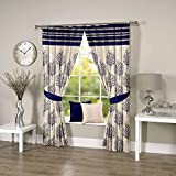 Threadmix Polyester blue Window Curtains...