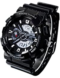 redmid Unisex deporte reloj analógico/digital resistente al agua multifunción LED reloj de pulsera Negro