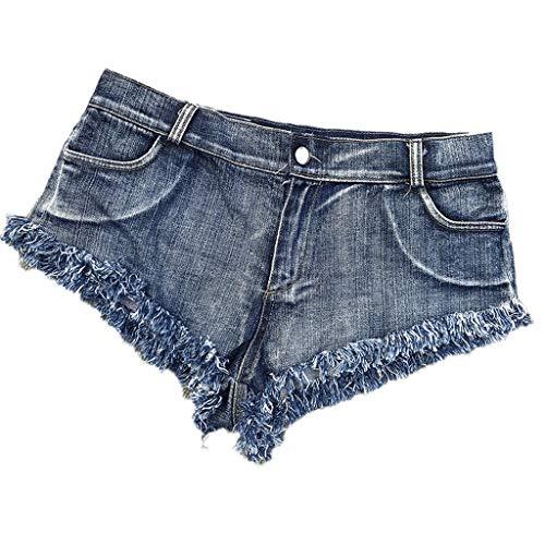 HGhot Sexy Abgeschnittene Frauen Zerstörte Zerrissene Micro Stretch Low Rise Mini Denim Shorts Cheeky Jean Short Hot Pants (Farbe : Blau, größe : Xs)