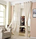 WOLTU VH5862cm, Gardinen Transparent mit Ösen Leinen Optik, Ösenschal Vorhang Stores Voile Fensterschal Dekoschal für Wohnzimmer Kinderzimmer Schlafzimmer, 140x225 cm, Crème, (1 Stück)