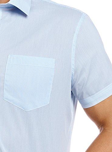 oodji Ultra Homme Chemise Coupe Cintrée à Rayures Blanc (1070S)