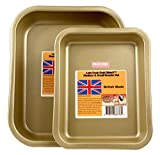 Lets Cook Medium & Small Roaster set oro, British Made with Glidex non stick TM