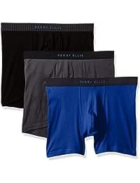 X-Large, Mazarine/Ebony/Black : Perry Ellis Men's 3 PK 1 X 1 Rib Solid Boxer Briefs