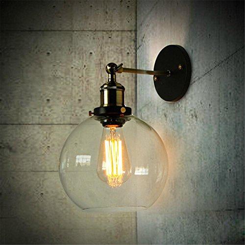 Wandleuchte LED Innen Kunstglas Lampenschirm Laterne Wandleuchte Lantu Vintage Industrial Metall Bronze Glas Schatten Haus Dekoration Licht