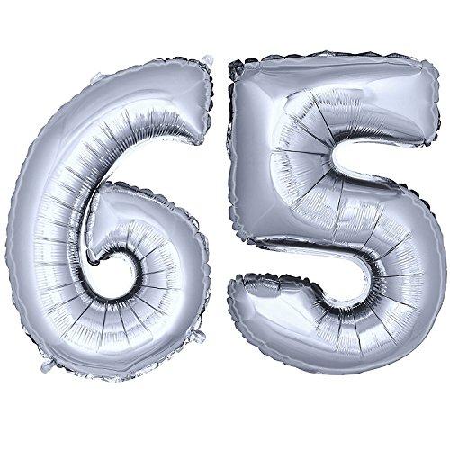 DekoRex® Folienballon Zahlenballon Luftballon Geburtstag Deko 40cm Silber Zahl: 65