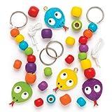 """Schlüsselanhänger- und Taschenschmuck-Bastelsets """"Schlange"""" aus Holz für Kinder zum Dekorieren – Kreative Bastelsets für Kinder (4 Stück)"""