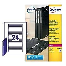 Avery L7170-25 Self-Adhesive Eurofolio Folder File Labels, 24 Labels Per A4 Sheet