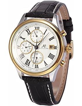 Ks Herren Armbanduhr Automatik Mechanik Uhr Schwarze Armband aus Leder Datumanzeige KS145