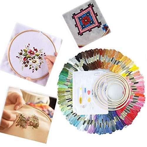 Dyna-Living Komplette Palette von Stickerei Starter Kit, 50 Farbe Threads Magische Stickerei Stift Stickerei Stitching Punch Needle Kit Handwerkzeug für DIY Nähen (Punch-stickerei-starter-kit)