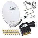 FUBA 65cm für 8 Teilnehmer (Direktanschluss) Digital SAT Anlage DAA650G + Octo LNB schwarz 0,1dB Full HDTV 4K 3D + 16 Vergold